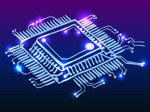 Microchip processor glowing doodle