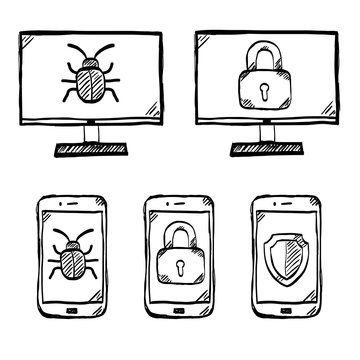 Malware and virus vector, internet security icons