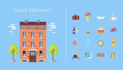 Hotel Elements Building Icons Vector Illustration