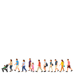 Wall Mural - isolated, set, crowd of people, people go