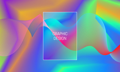 Vector vibrant gradient background with iridescent guilloche wave. Template for backdrop generation.