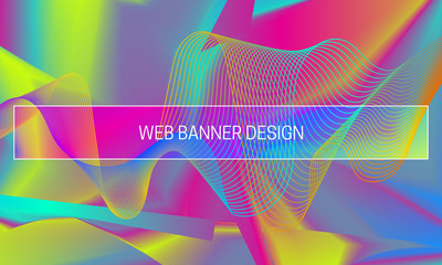 Vector vibrant gradient background with colorful guilloche wave. Web banner backdrop generation template.