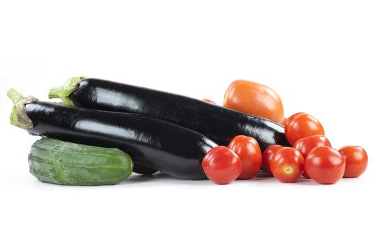 Melanzane, pomodori, zucchino