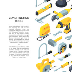 Vector construction tools isometric icons background