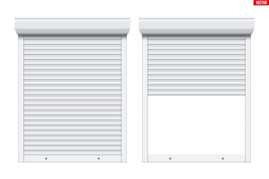Set of Roller Shutters Window. Closed and Opened Protect System Equipment. White color. Vector Illustration isolated on background.