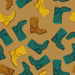 rubber boots seamless pattern