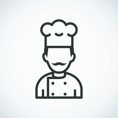 Mustachioed chef Icon. Cook avatar profile