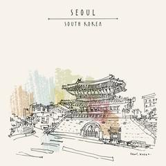 Seoul, South Korea. Dongdaemun (Heunginjimun) gate. Hand drawn vintage touristic postcard