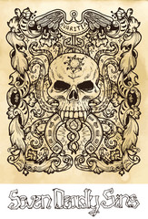 Greed. Latin word Avaritia means Avarice. Seven deadly sins concept on texture vector background. Vector collection with frame. Hand drawn engraved illustration, tattoo and t-shirt design