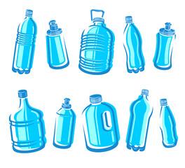 Bottles water set. Vector