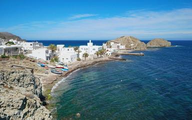 The picturesque village La Isleta del Moro on the shore of the Mediterranean sea, Cabo de Gata-Níjar natural park, Almeria, Andalusia, Spain