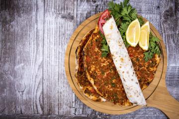 Turkish foods; Turkish pizza, lahmacun