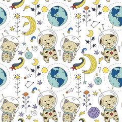 Seamless vector pattern with cosmos doodle illustrations. Galaxy handdrawn elements.
