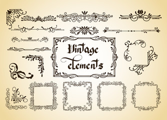 Kit of Vector Vintage Elements for Invitations, Banners, Posters, Placards, Badges or Logotypes.