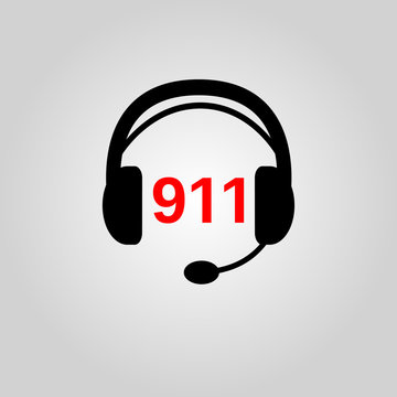 911 icon. 911 symbol. Flat design. Stock - Vector illustration