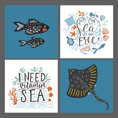 Vector sea cards set with handdrawn sea animals and ornate lettering pieces with a lot of detailed elements. Summer illustrations.