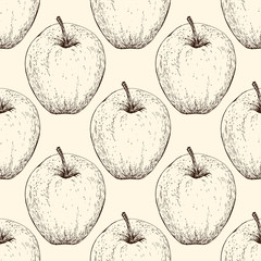 Vector apple handdrawn seamless pattern in the style of engraving. Organic hand drawn elements. Farm market sketch of fruits.