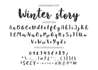 Winter story. Handwritten Brush font for lettering quotes. Hand drawn brush style modern calligraphy.
