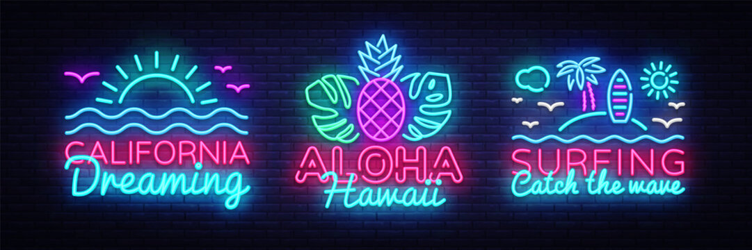 Summer neon signs collection design template. Surfing, California, Aloha neon emblems, light banner. Summer concepts design. Smartphone in hand. Vector illustration