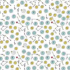 Seamless vector pattern with cosmos doodle illustrations. Astrology handdrawn elements.