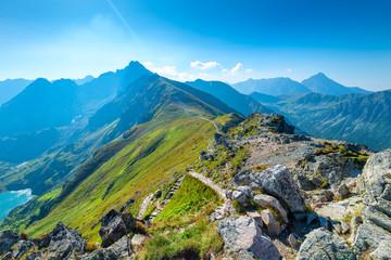 Obraz Ridge Mountains Kasprowy Wierch tourist attraction in Poland, sunny summer day - fototapety do salonu