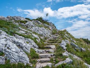Steintreppen zum Gipfel des Schafberg