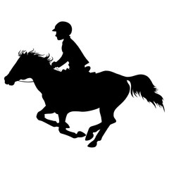 A vector silhouette of a small rider on a pony.