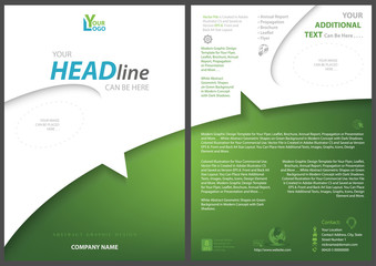 White-green Flyer Template with Dividing Abstract Curved Shape - Modern Graphic Illustration for Your Project, Vector