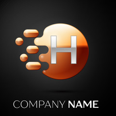 Silver Letter H logo. Gold dots splash and abstract liquid bubble shape on black background. Vector template for your design