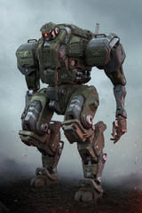 Sci-fi mech soldier standing on the ground against a cloudy sky background. Military futuristic robot with a green and gray color metal. Mech controlled by a pilot. Scratched metal armor. 3D rendering