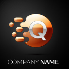 Silver Letter Q logo. Gold dots splash and abstract liquid bubble shape on black background. Vector template for your design