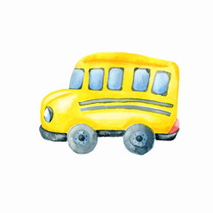 Colorful school bus on white background.