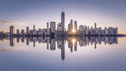 Manhattan skyline at sunset, New York City, USA Wall mural