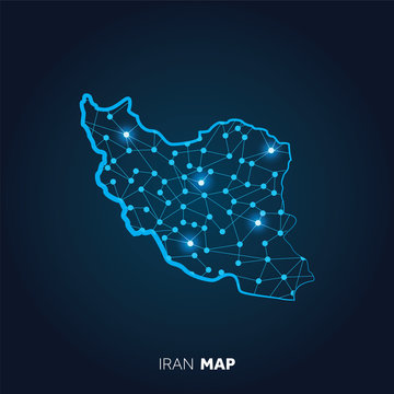 Map of Iran made with connected lines and glowing dots.
