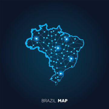 Map of Brazil made with connected lines and glowing dots.