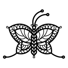 One line illustration of crocheted, lacy, patterned butterflie.