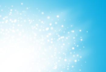 Blue glitter sparkles rays lights bokeh Festive Elegant abstract background.