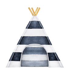 Cosy teepee tent illustration. One single object, black and white stripes pattern, beautiful textile design, front view. Hand drawn watercolour painting on white background, isolated clip art element.