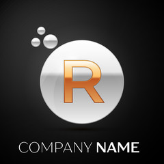 Gold Letter R logo. Silver dots splash and abstract liquid bubble shape on black background. Vector template for your design