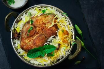 Homemade Fish Biryani served with Yogurt dip