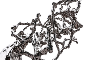 Element of an abstract figure of chrome-plated steel simulating fluidity and splashing liquid