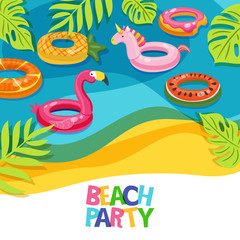 Sea beach or swimming pool with float rings flamingo, unicorn, watermelon. Vector hand drawn doodle illustration. Multicolor inflatable kids toys. Trendy design concept for summer poster or banner.