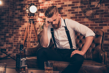 Overworked bad mood regret disappointment exhausted chill handover headache suffer lonely lost concept. Sad upset unhappy tired frustrated troubled pensive serious guy analyzing his fail in business