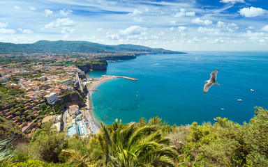 Daylight aerial view of coastline Sorrento and Gulf of Naples, Italy