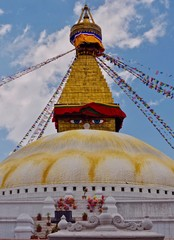Swayambhunath stupa with prayewrflags, Kathmandu. Nepal