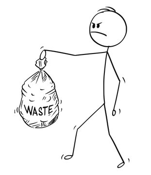 Cartoon stick drawing conceptual illustration of angry man carrying plastic bag full of waste. Concept of waste management and recycling.
