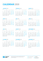 Calendar for 2019 year. Week starts on Monday. Printable vector stationery design template