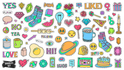 Patch badges set. Doodle sketch vector. Comic stickers. Social media emoji. Pop art. Cute and funny doodles. College fashionable pins.