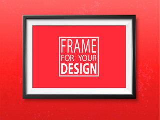 Picture frame grunge wall realistic mock up vector red