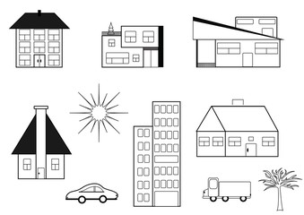 The set of buildings. Collection of drawings, symbols, buildings, tree's and cars. Format jpg and vector.